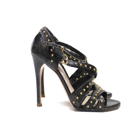 Miu Miu Studded Cracle Shine Strappy Sandals Heels